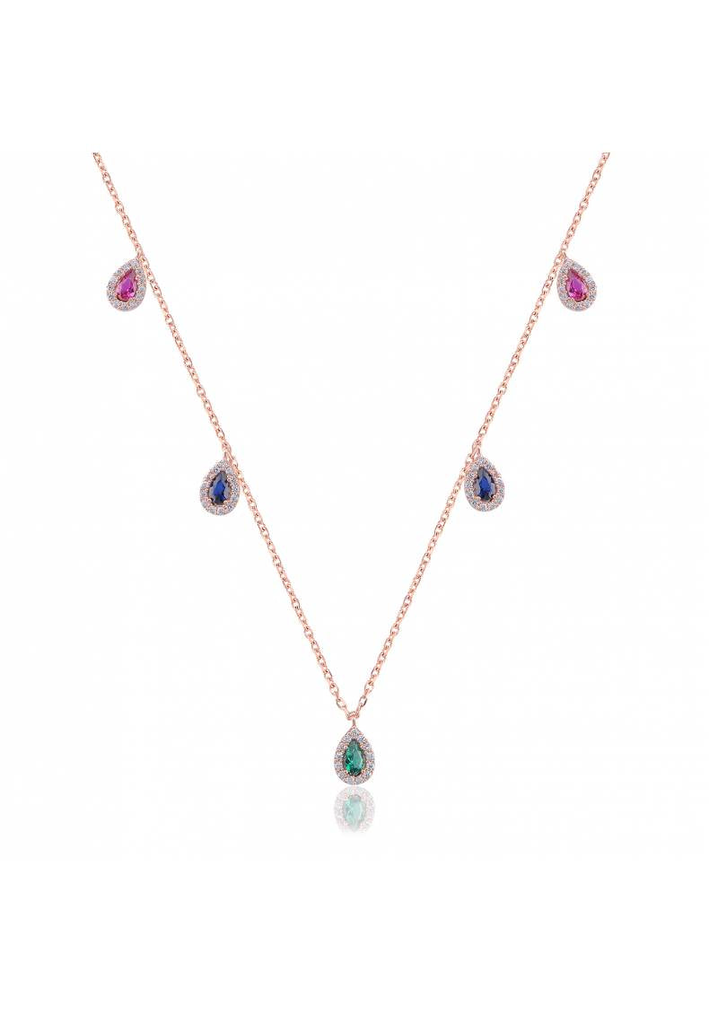 RAINBOW DROP STONE NECKLACE