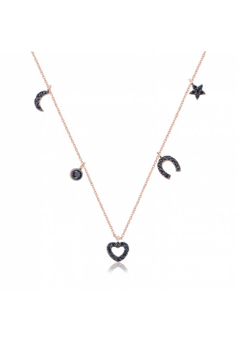 MOON, HORSESHOE, HEART & STAR GOOD LUCK CHARM NECKLACE