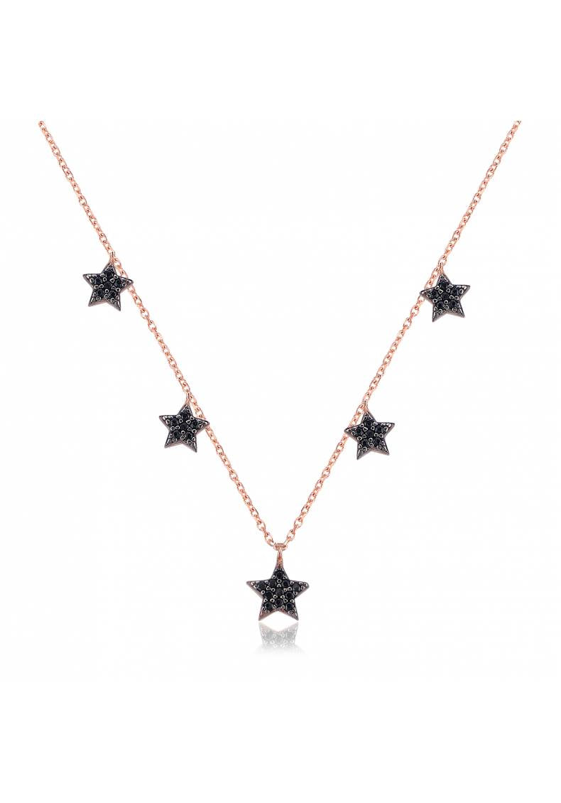 BLACK STONE STAR SILVER NECKLACE