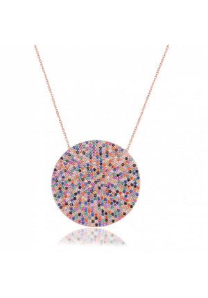 RAINBOW ROUND STONE NECKLACE
