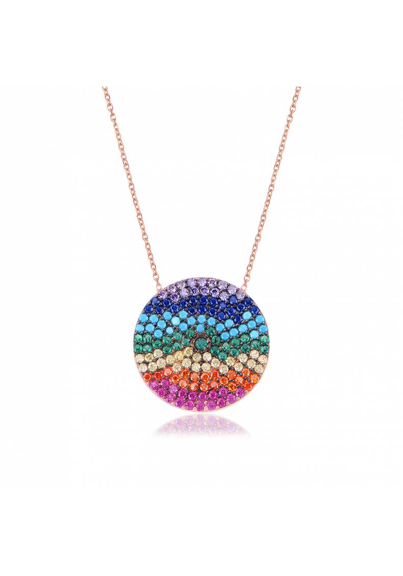 ROUND MEDALLION RAINBOW NECKLACE