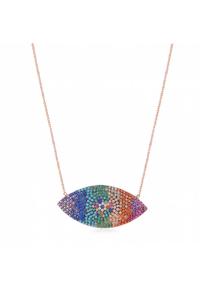 RAINBOW EYE SHAPE NECKLACE
