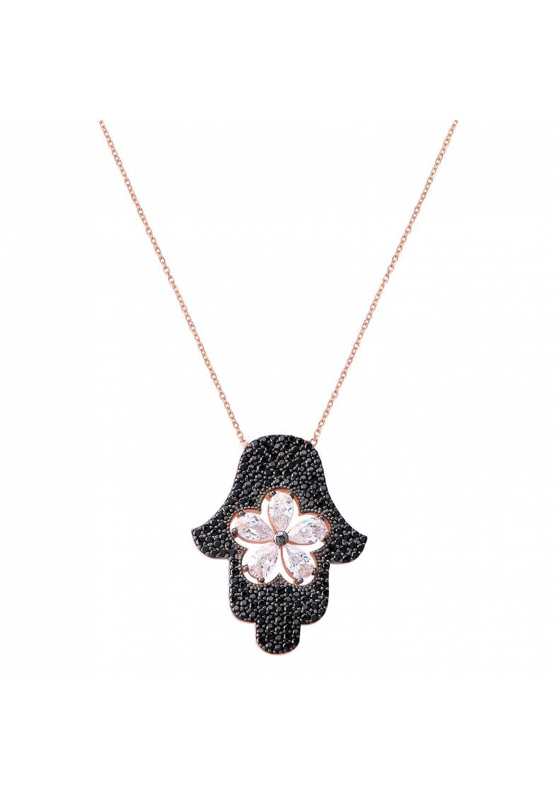 BLACK STONE HAMSA FLOWER NECKLACE