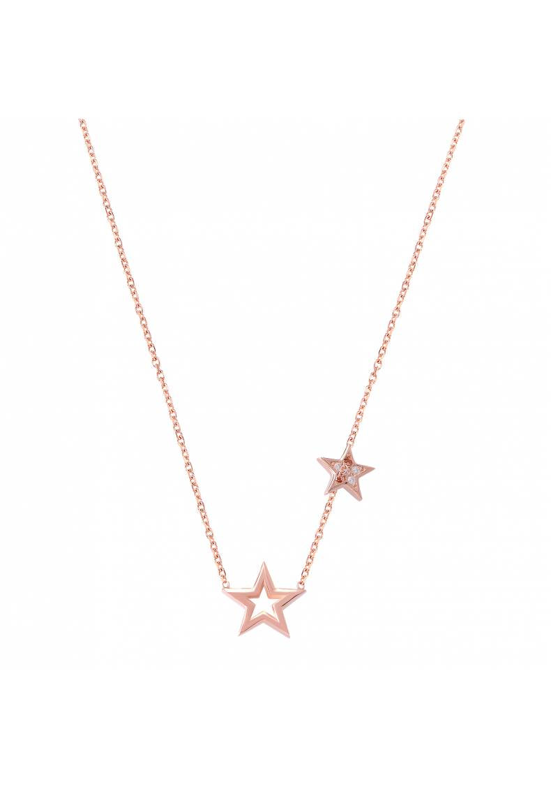 DOUBLE STAR WHITE STONE NECKLACE