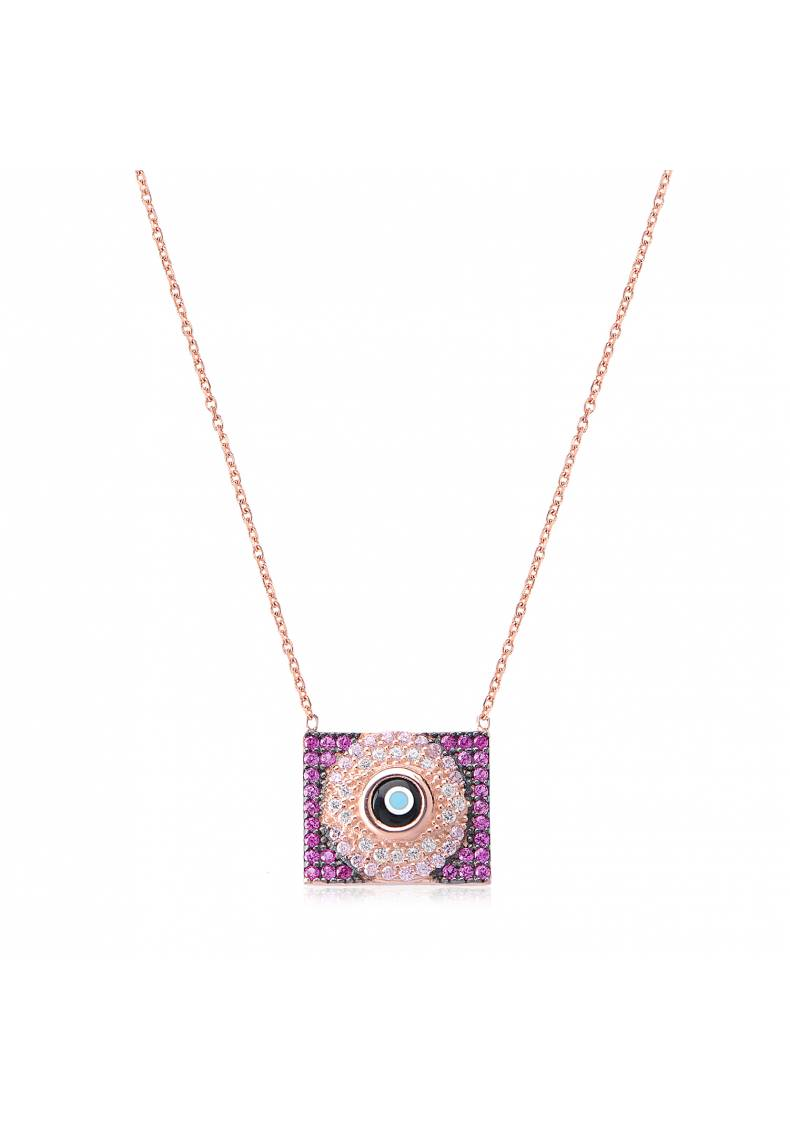 RECTANGLE EYE PAVE NECKLACE