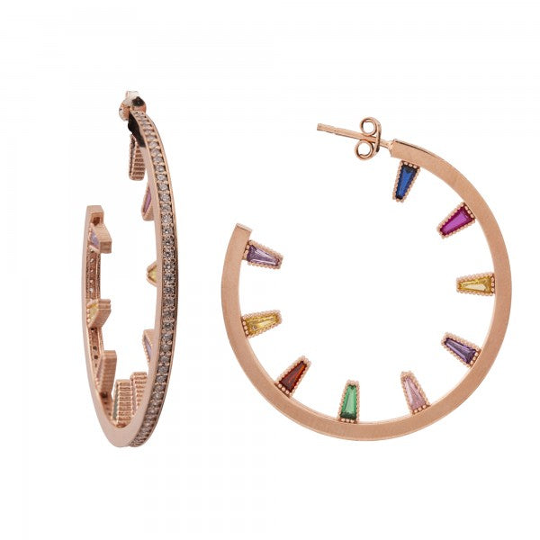 PAVE RAINBOW HOOPS