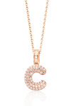 PUFFED CZ STERLING SILVER INITIAL NECKLACE