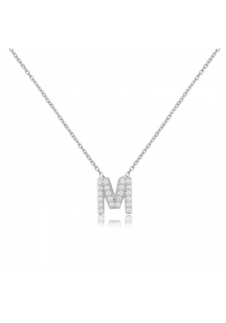 INITIAL LETTER PERSONALIZED STERLING SILVER NECKLACE