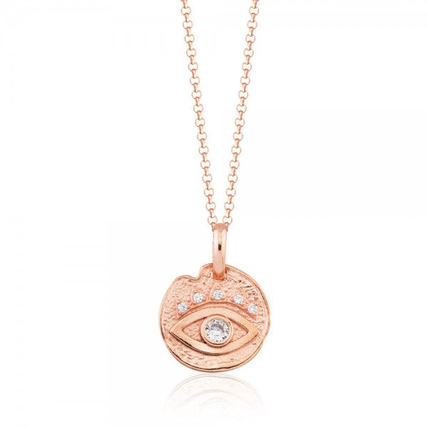 EYE PENDANT CZ MEDALLION NECKLACE