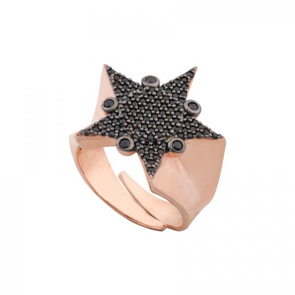 BLACK STONE COMPASS STAR RING