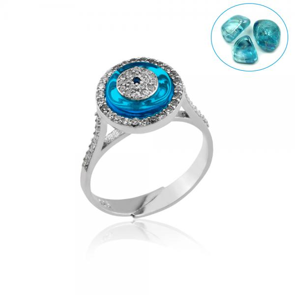 ROUND BLUE GLASS ADJUSTABLE ZIRCON RING