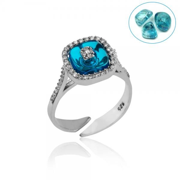 SQUARE BLUE GLASS ZIRCON RING
