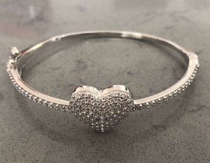 Sterling Silver Cushion Heart CZ Bangle