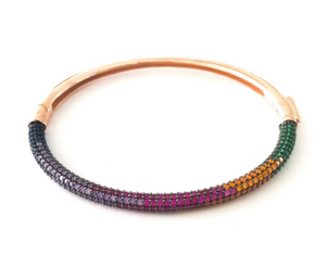 Pave CZ Rainbow Stone Bangle Cuff