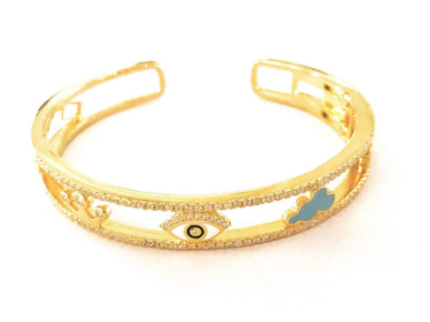 Custom Enamel Evil Eye Royal Crown Charm Bangle