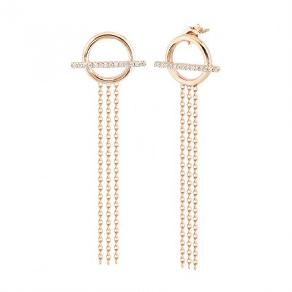 ROUND PAVE BAR CHAIN EARRINGS