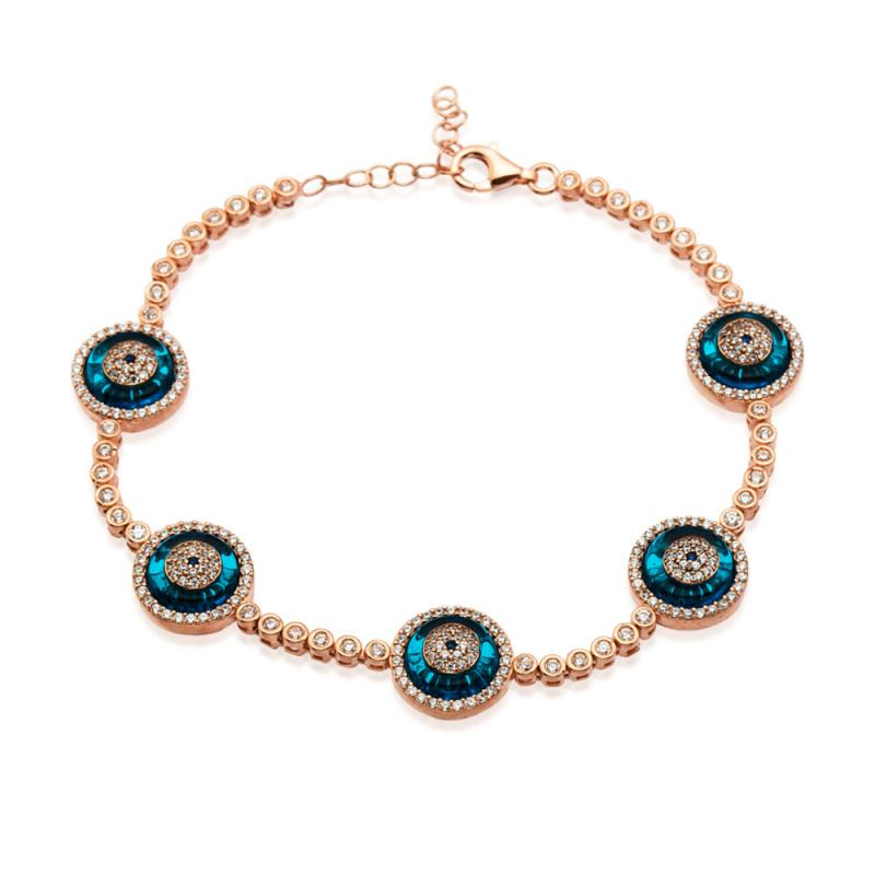 EVIL EYE ROUND BLUE GLASS TENNIS BRACELET