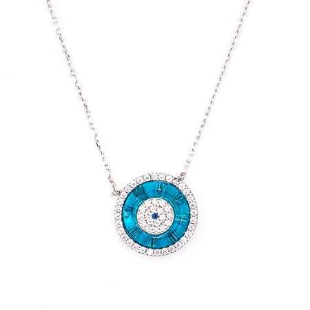 ROUND BLUE GLASS EYE NECKLACE