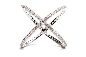 CRISS CROSS PAVE CZ STERLING SILVER RING