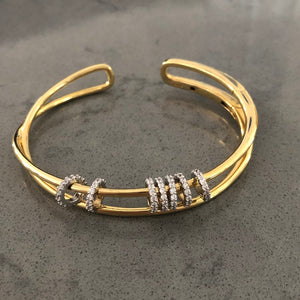 Double Row Moving Rings Bangle Cuff