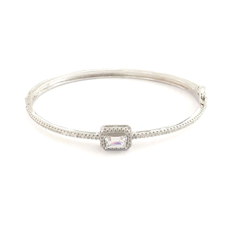 Rectangular Baguette Stone Bangle Cuff