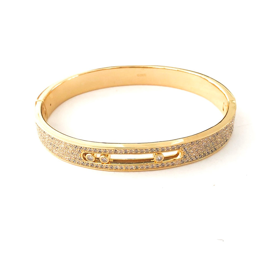 Beautiful Moving Stone Pave Bangle Cuff
