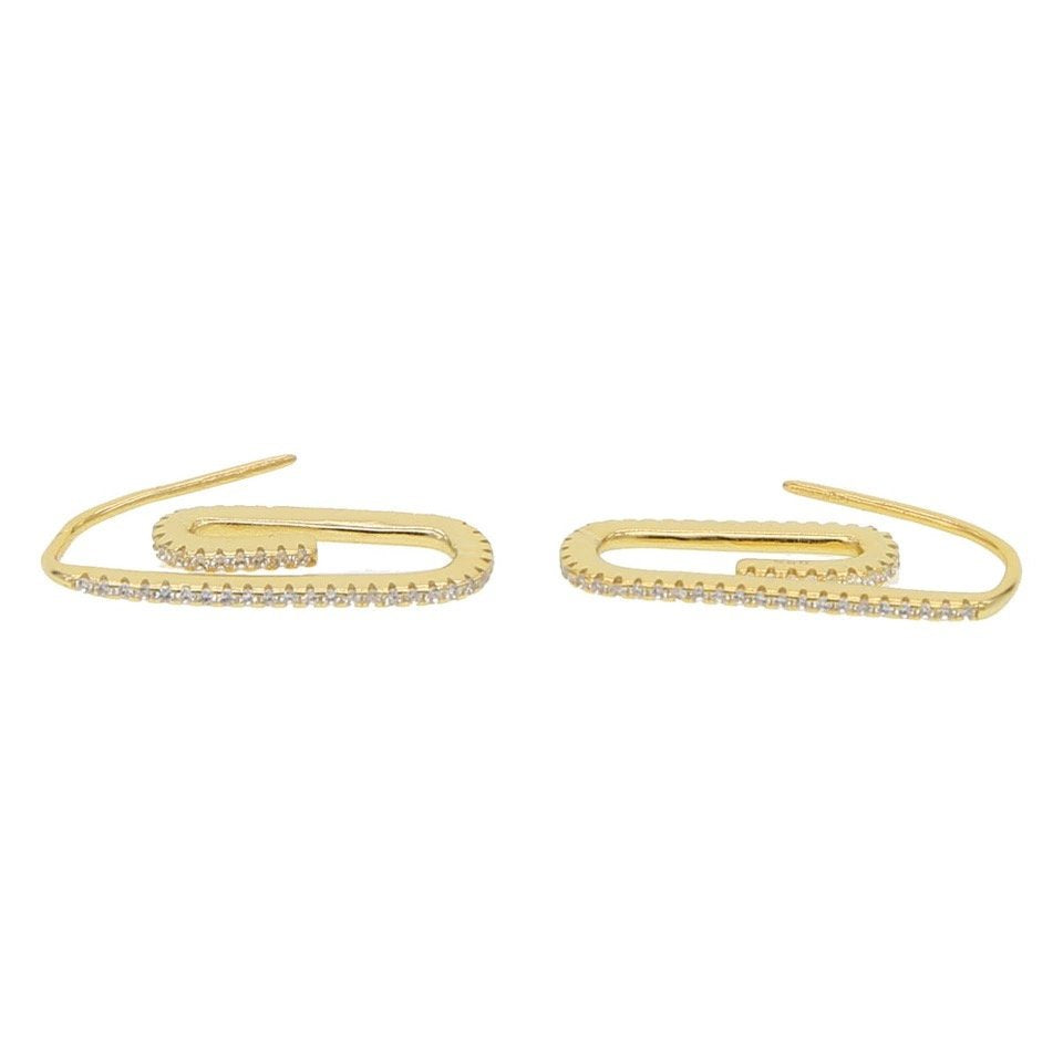 PAPERCLIP PAVE CZ EARRINGS