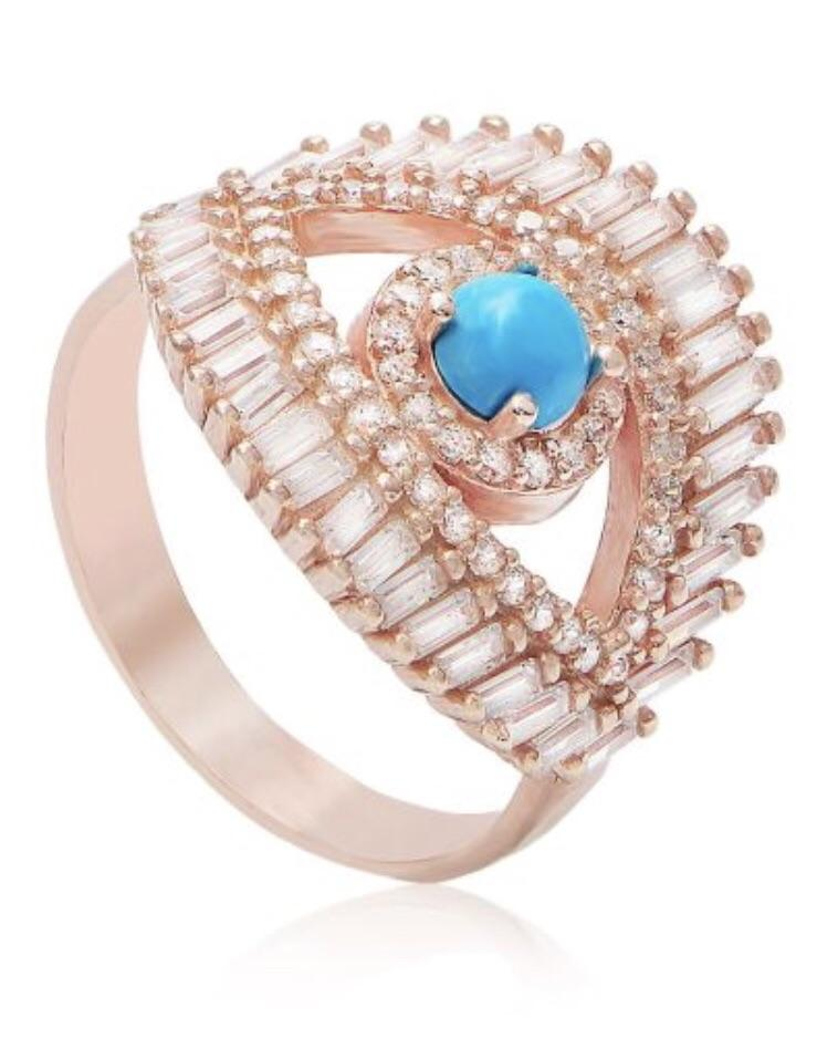 BAGUETTE EVIL EYE NAZAR RING