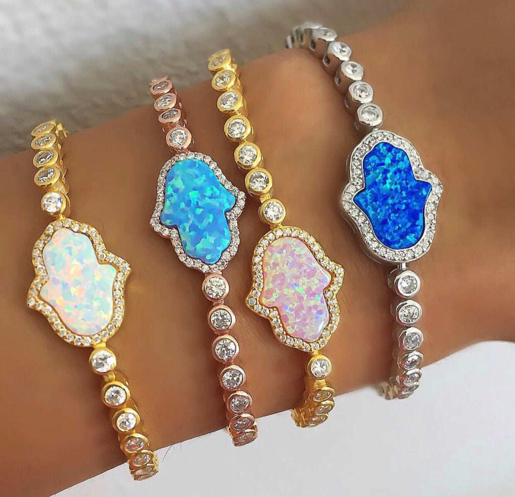 HAMSA HAND OF GOD OPAL TENNIS BRACELET