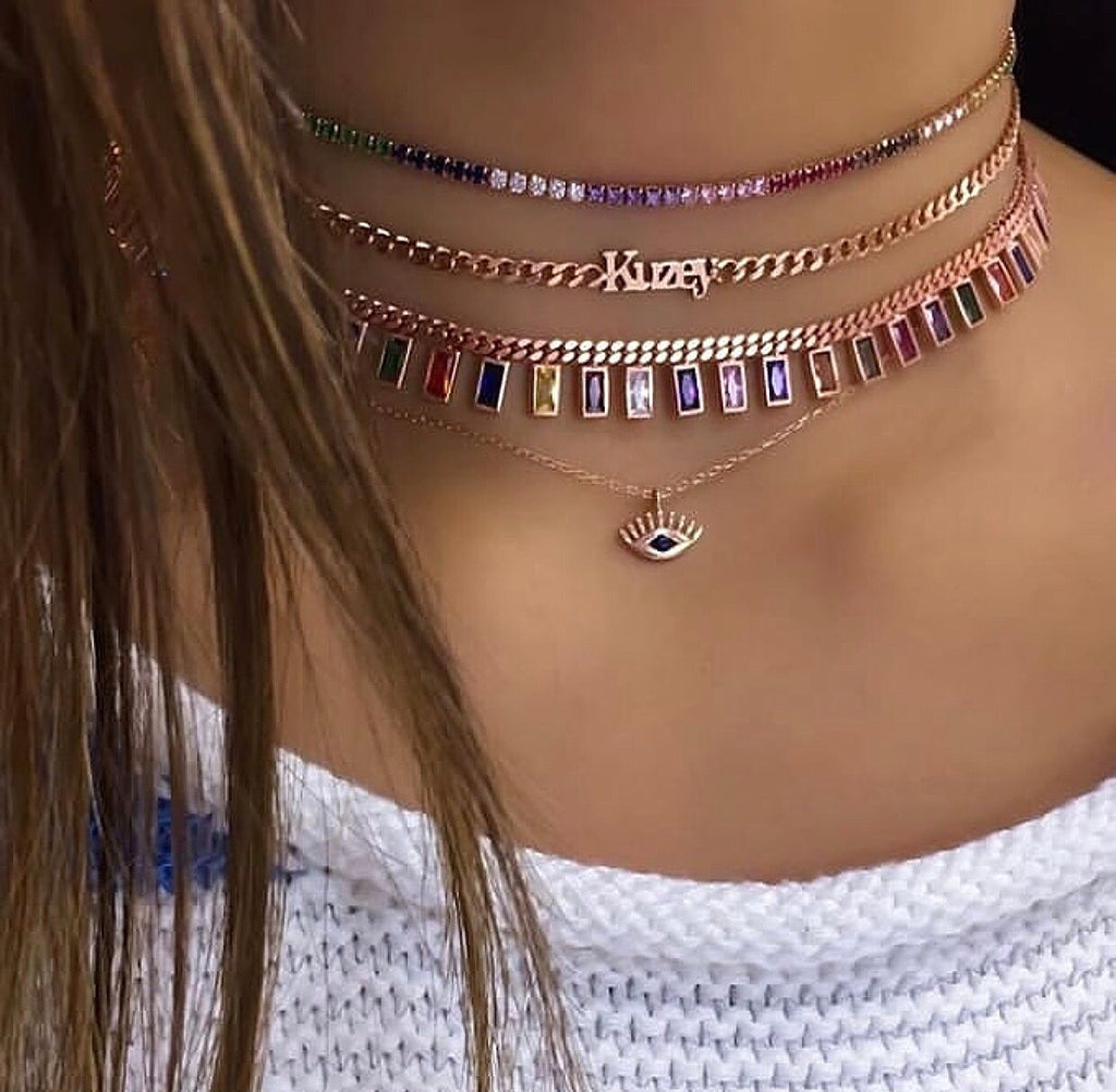 BEZEL TENNIS CHOKER BAGUETTE RAINBOW CHOKER STACKS PERSONALIZED NAME EVIL EYE