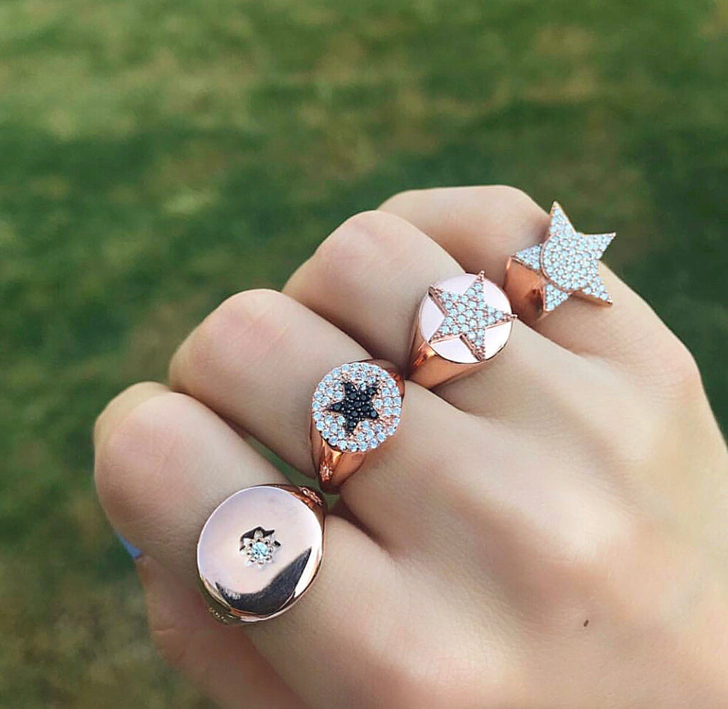 STERLING SILVER STAR CZ DESIGN RINGS