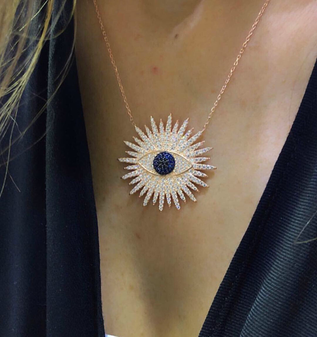 SUN AND EYE PENDANT NECKLACE