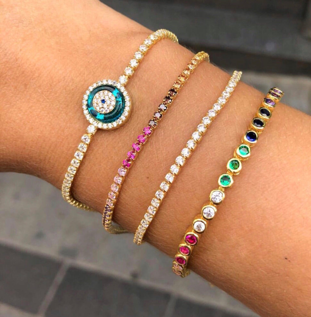 EVIL EYE, RAINBOW PAVE, & TENNIS STACK BRACELETS