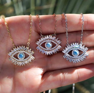 BAGUETTE EVIL EYE NAZAR NECKLACE