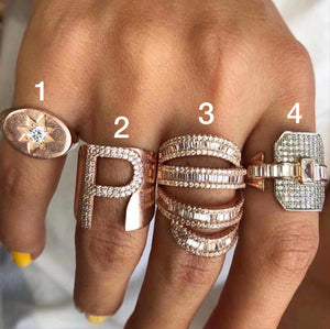 KNIGHT RING, INITIAL LETTER, BAGUETTE & BUCKLE RING