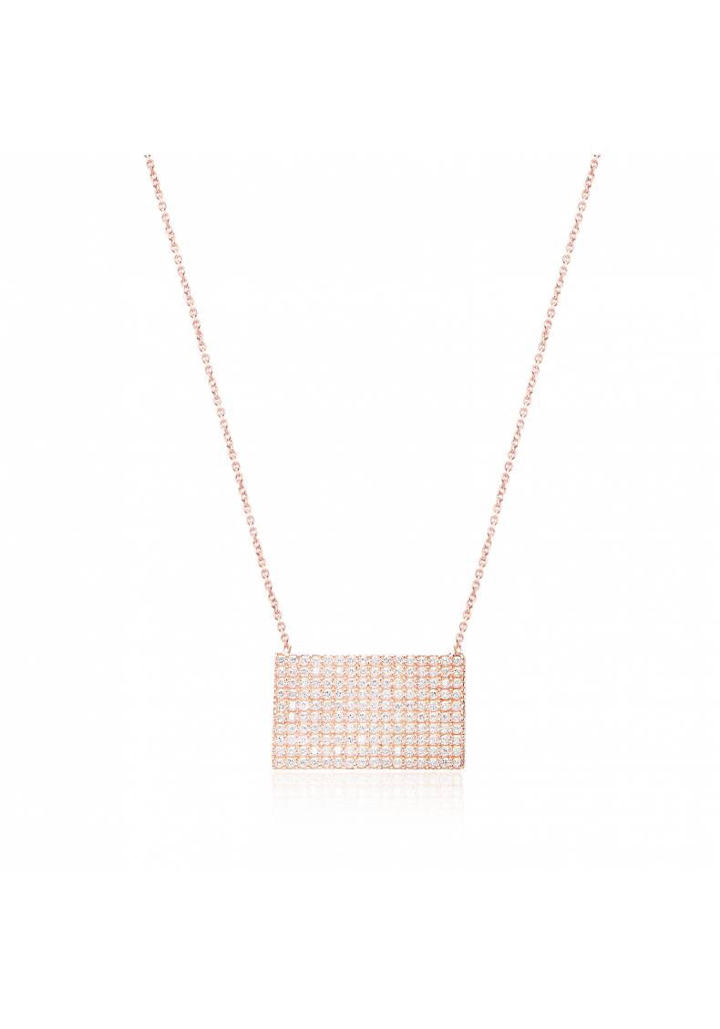 RECTANGLE CZ PAVE STONE NECKLACE