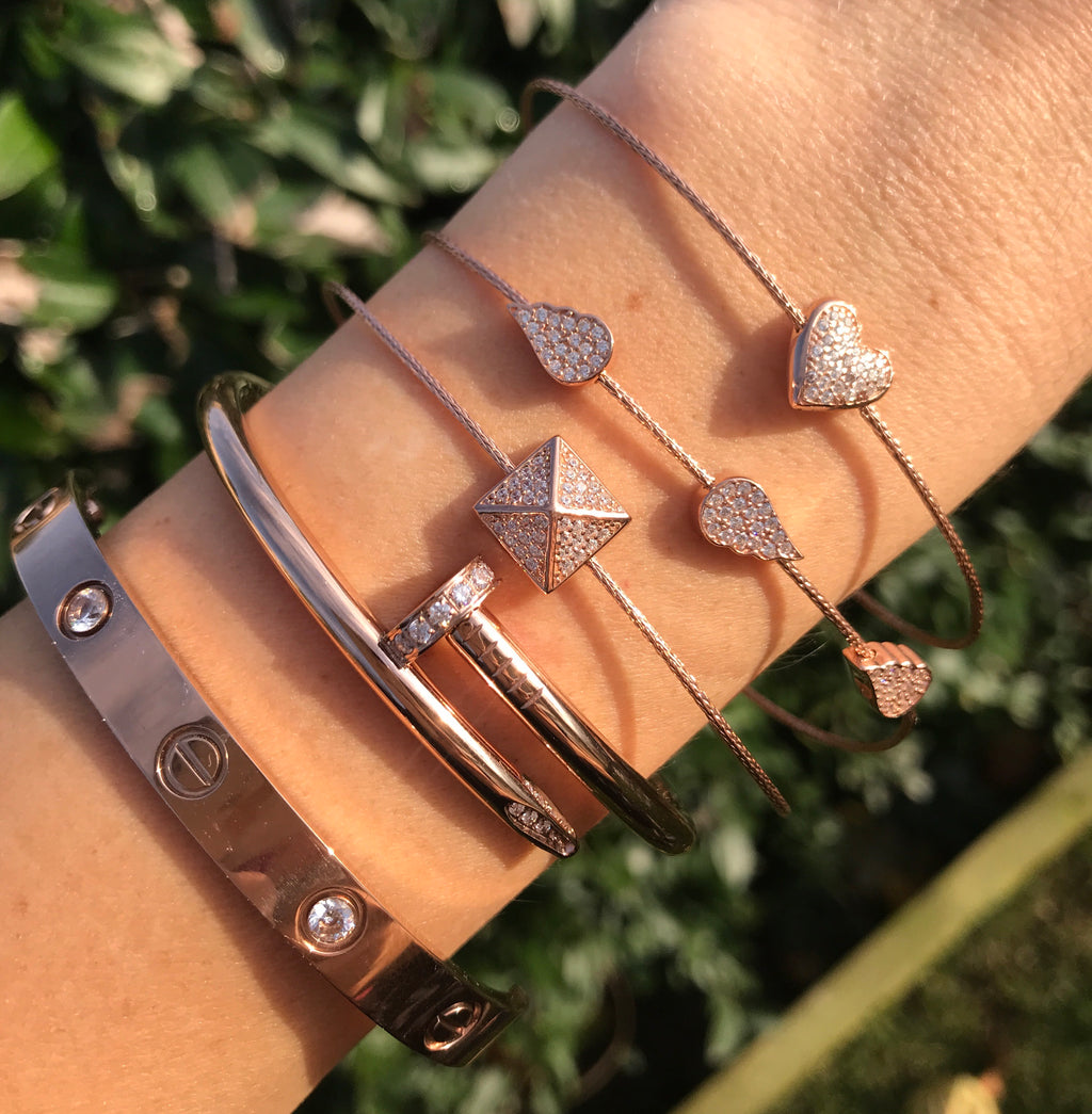 STERLING SILVER PYRAMID, ANGEL WINGS, & PUFFED HEART BRACELET
