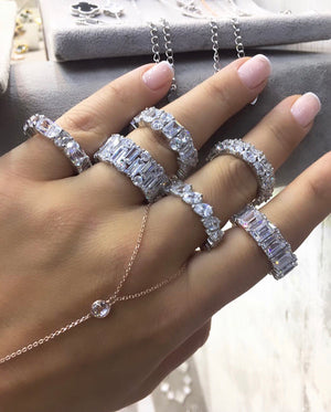 Sterling Silver Baguette Glam Rings