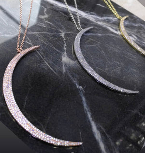 LARGE MOON CZ PAVE NECKLACE
