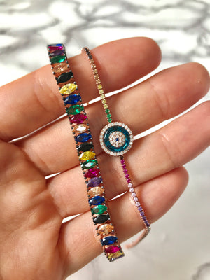 RAINBOW EVIL EYE THIN BRACELET