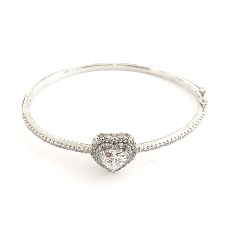 Cushion Heart Baguette Stone Bangle Cuff