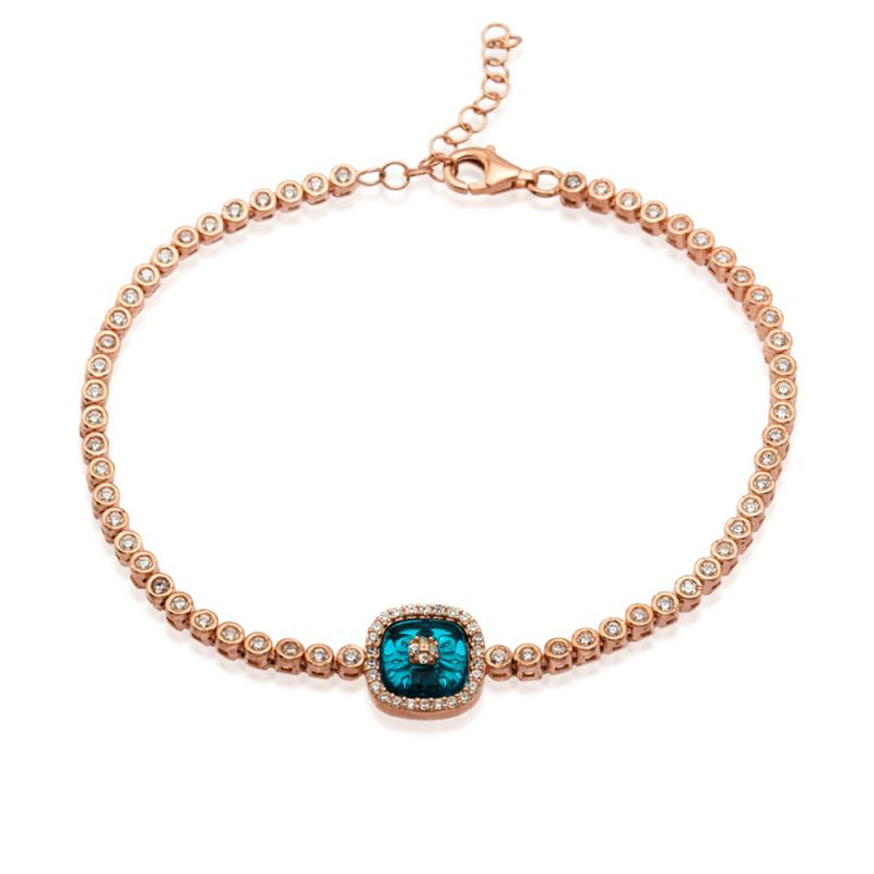 EVIL EYE SQUARE BLUE GLASS TENNIS BRACELET