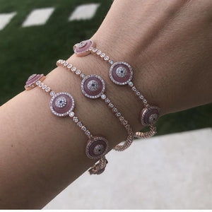 Pink Evil Eye 5 Blue Glass Tennis Bracelet