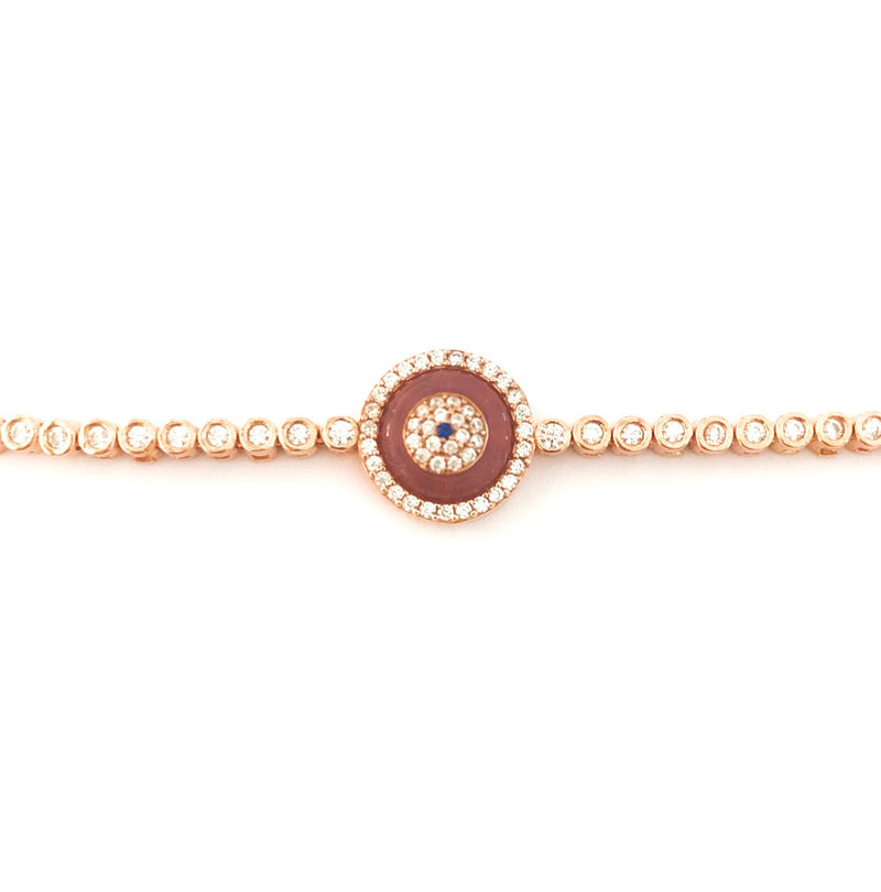 Pink Single Evil Eye Blue Glass Tennis Bracelet