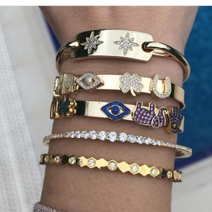 Stone Elephant, Lucky Clover, Evil Eye, Horse Shoe Bangle