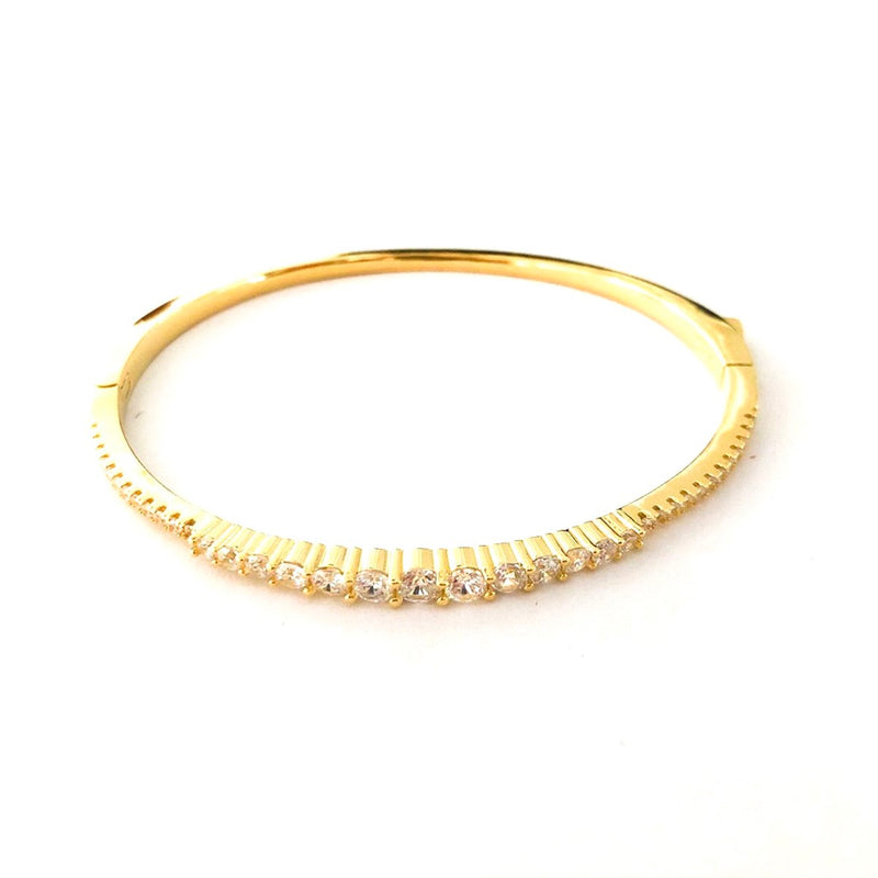 Row of Stone CZ Cuff Bangle