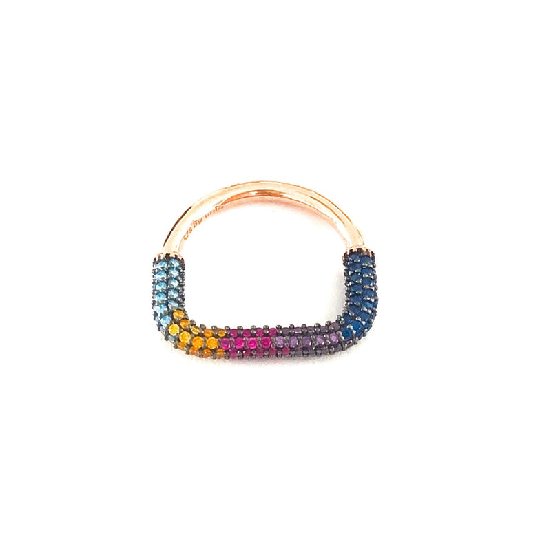 Single Row Colored Stone Ring