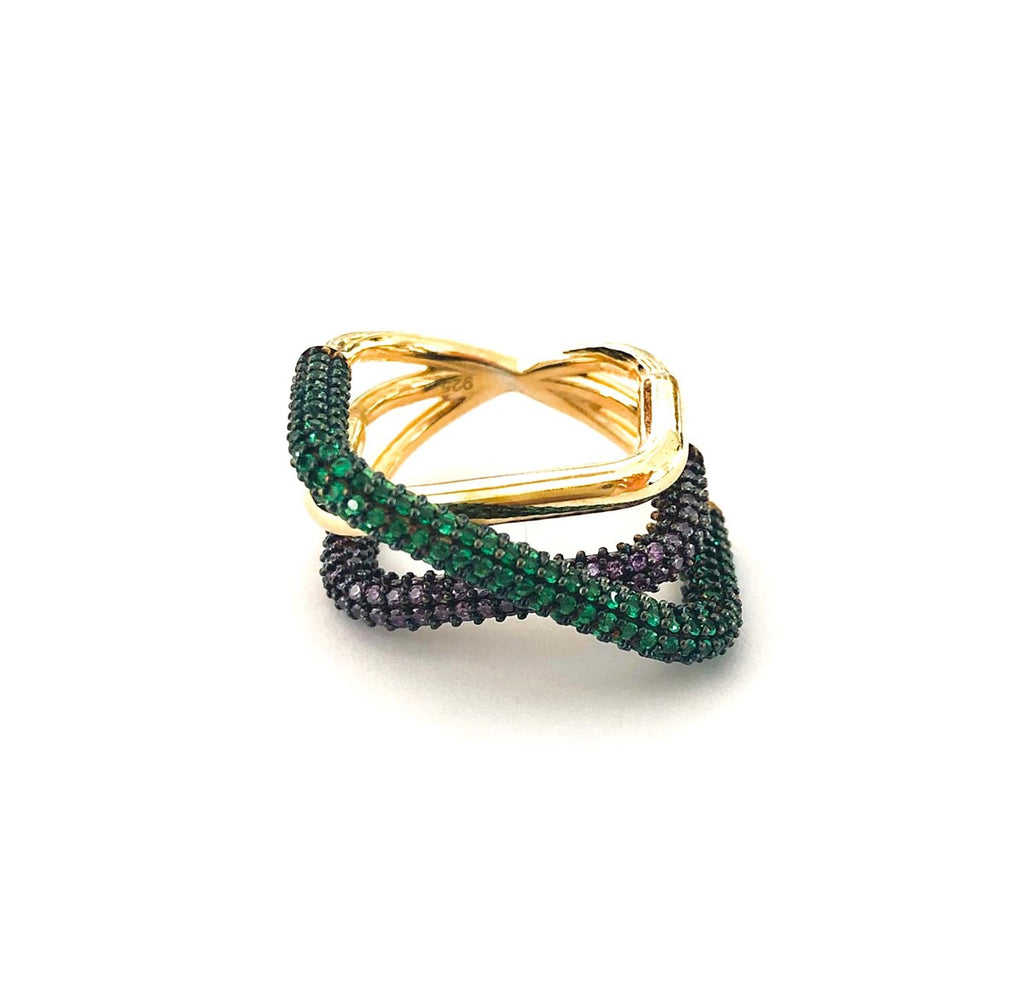 Criss Cross Three Row Colored Stone Ring