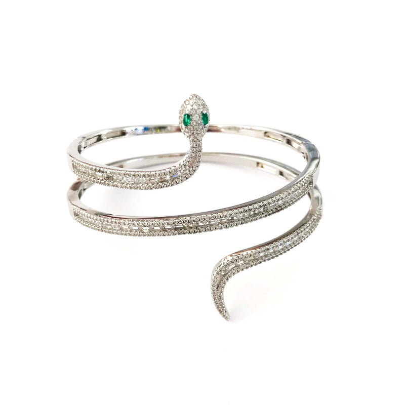 Python Snake Emerald Baguette Stone Cuff