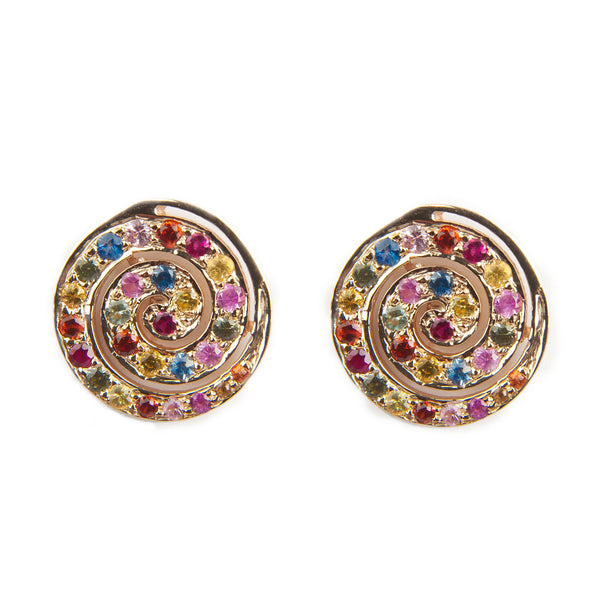 Multi-Color Sapphire Spiral Earrings
